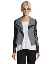 Vince Heather Grey Wool Blend Leather Detail Boucle Scuba Jacket - Lyst