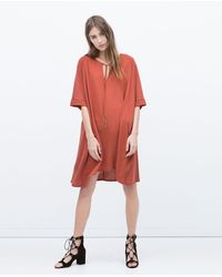 Zara Tunic Dress With Tassels red - Lyst
