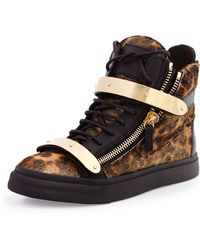 Giuseppe Zanotti Calf Hair High-top Sneaker - Lyst
