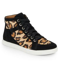 Enzo Angiolini - Sovann Leopard Print Calf Hair  Suede High Top Sneakers - Lyst