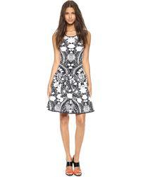 Marchesa Voyage - Floral Knit Tank Dress - Black/White - Lyst