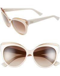 Dior Women'S 'Glisten 1' 56Mm Cat Eye Sunglasses - Ivory/ Orange - Lyst