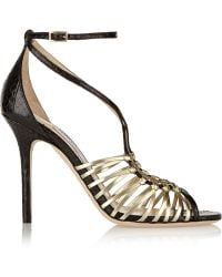 Jimmy Choo Legia Elaphe and Metallic Leather Sandals - Lyst