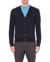 Lanvin Contrast Wool-Blend Cardigan - For Men, Navy - Lyst