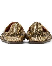 Lanvin Gold Laminated Slipper Shoes - Lyst