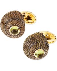 Trianon - Shell Cuff Links With Peridot Center - Lyst