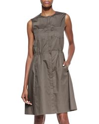 Theory Ketan Taranto Cinched Waist Cotton Dress Mud - Lyst