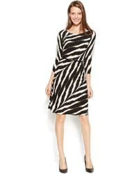 Calvin Klein Three-Quarter Sleeve Belted Zebra Dress - Lyst