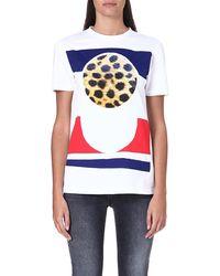 Être Cécile Cheetah Circle Tshirt White - Lyst