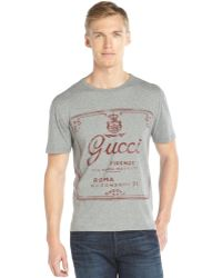 Gucci Grey and Red Cotton Vintage Logo Graphic Crewneck Short Sleeve T-shirt - Lyst