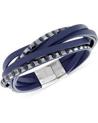 Swarovski Stainless Steel Jet Crystal Blue Leather Wrap Bracelet - Lyst