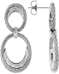 Charriol Classique 18K White Gold And Ss Cable 0.14Tcw Drop Earrings - Lyst