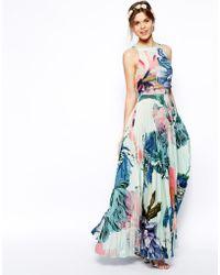 Asos Pleated Crop Top Maxi Dress - Lyst