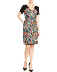Band of Outsiders Silk V-Neck Floral Dress - Lyst