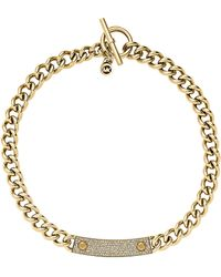 Michael Kors Goldtone Crystal Pavã Reversible Plaque Necklace - Lyst