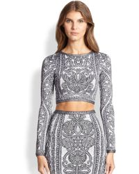 Hervé Léger Printed Cropped Top gray - Lyst