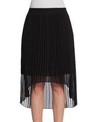 Saks Fifth Avenue Black Label - Pleated Hi-Lo Skirt - Lyst