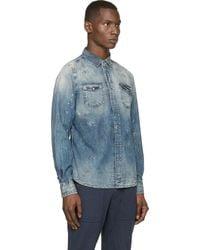 Diesel Blue Distressed New_Sonora Shirt blue - Lyst