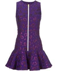 House of Holland Leopard Pattern Peplum Dress purple - Lyst