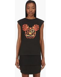 MSGM Black and Orange Frightened Paradise Sleeveless T_shirt - Lyst