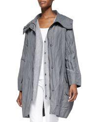 Eileen Fisher Rumpled Metallic Cotton Cocoon Coat - Lyst