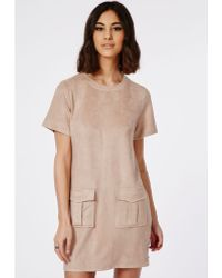 Missguided Faux Suede Zip Side Shift Dress Nude - Lyst
