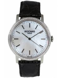 Rochas - Womens White Mother Of Pearl Dial Black Crocodile Leather Watch - Lyst