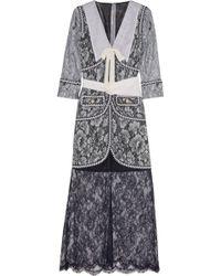 Alessandra Rich Passementerie-Trimmed Floral-Lace Gown - Lyst