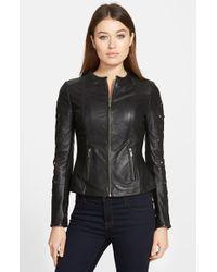 Lamarque  Embroidered Sleeve Leather Peplum Jacket - Lyst