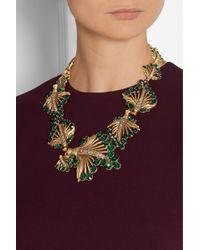 Oscar de la Renta Gold-Plated Crystal Leaf Necklace - Lyst