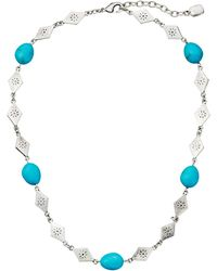 Lauren by Ralph Lauren Bar Harbor 18 Turquoise Beads and Diamond Shape Metal W Lobster Closure Necklace - Lyst