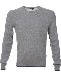 Scp Cashmere Crew Neck Contrast Trim Sweater - Lyst