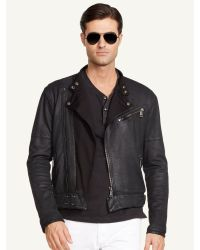 Ralph Lauren Black Label French Terry Moto Jacket - Lyst