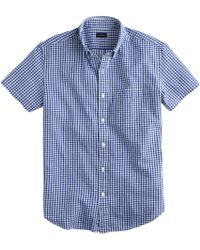 J.Crew Slim Seersucker Shirt in Estate Blue Gingham - Lyst