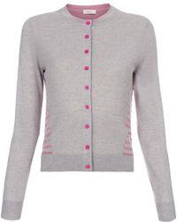 Paul Smith Grey Merino Wool Cardigan With Striped Back Panel - Lyst