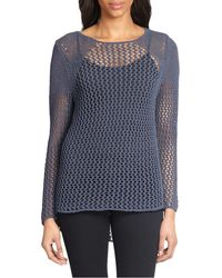 Elie Tahari Benny Open Knit Sweater - Lyst
