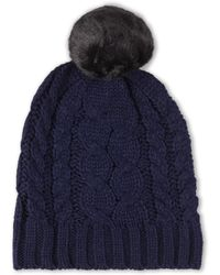 Ivanka Trump - Cable Knit Faux Fur Beanie - Lyst