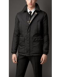 Burberry Padded Field Jacket with Leather Trim - Lyst
