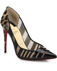 Christian Louboutin Bandy Leopard Patent Leather & Mesh Pumps - Lyst
