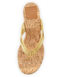 Tory Burch Suzy Cork Wedge Thong Sandal Gold - Lyst