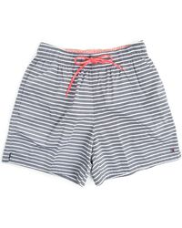 Tommy Hilfiger Chambray And White Striped Swim Shorts - Lyst
