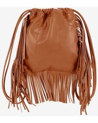 Sara Battaglia - David Fringe Leather Backpack: Brown - Lyst