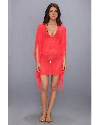 Luli Fama Flirty Caftan Fringe Dress Cover Up - Lyst
