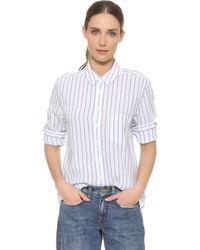 DL1961   The Blue Shirt Shop Nassau & Manhattan Shirt - White & Blue Stripes   Lyst