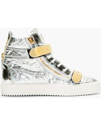 Giuseppe Zanotti Silver Textured Leather Metal Accent High_Top Sneakers - Lyst