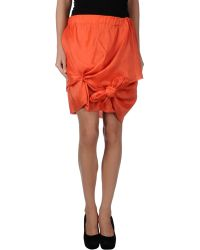 Acne Studios Knee Length Skirt orange - Lyst