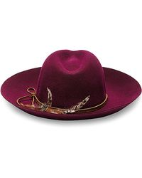 Sensi Studio Purple Wool Long Brimmed Hat With Feather - Lyst