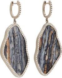 Monique Pean Atelier Diamond & Fossilized Woolly Mammoth Tooth Root Earrings