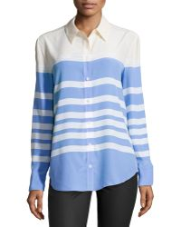 Equipment Reese Clean Colorblock Striped Silk Blouse - Lyst