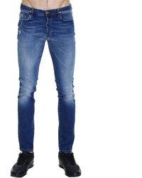 Mauro Grifoni Jay 18Bottom Slim Denim Jeans With Micro Broken blue - Lyst